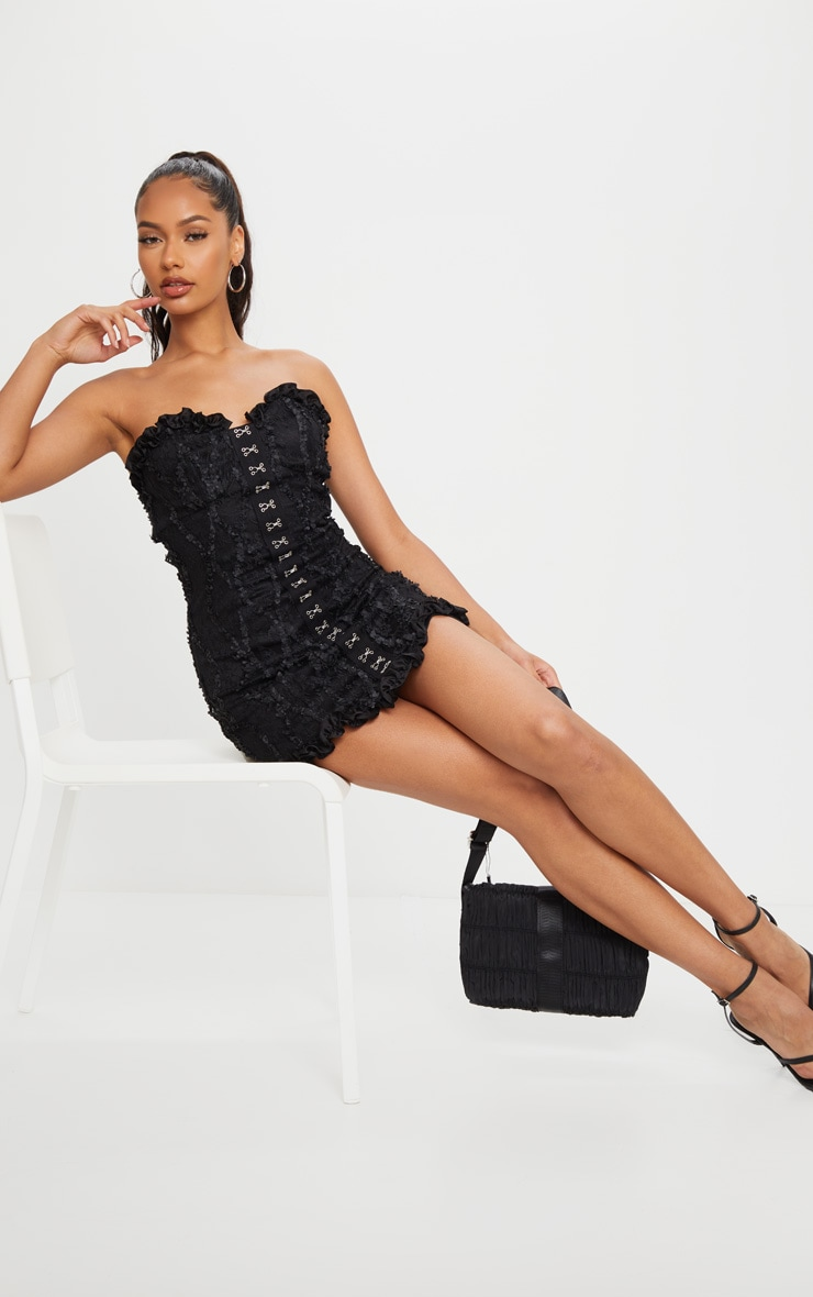 Black Hook & Eye Lace Embroidered Bandeau Bodycon Dress 3