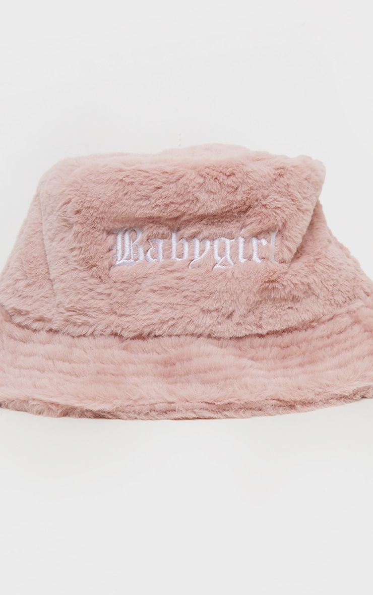Pink Babygirl Slogan Faux Fur Bucket Hat 2