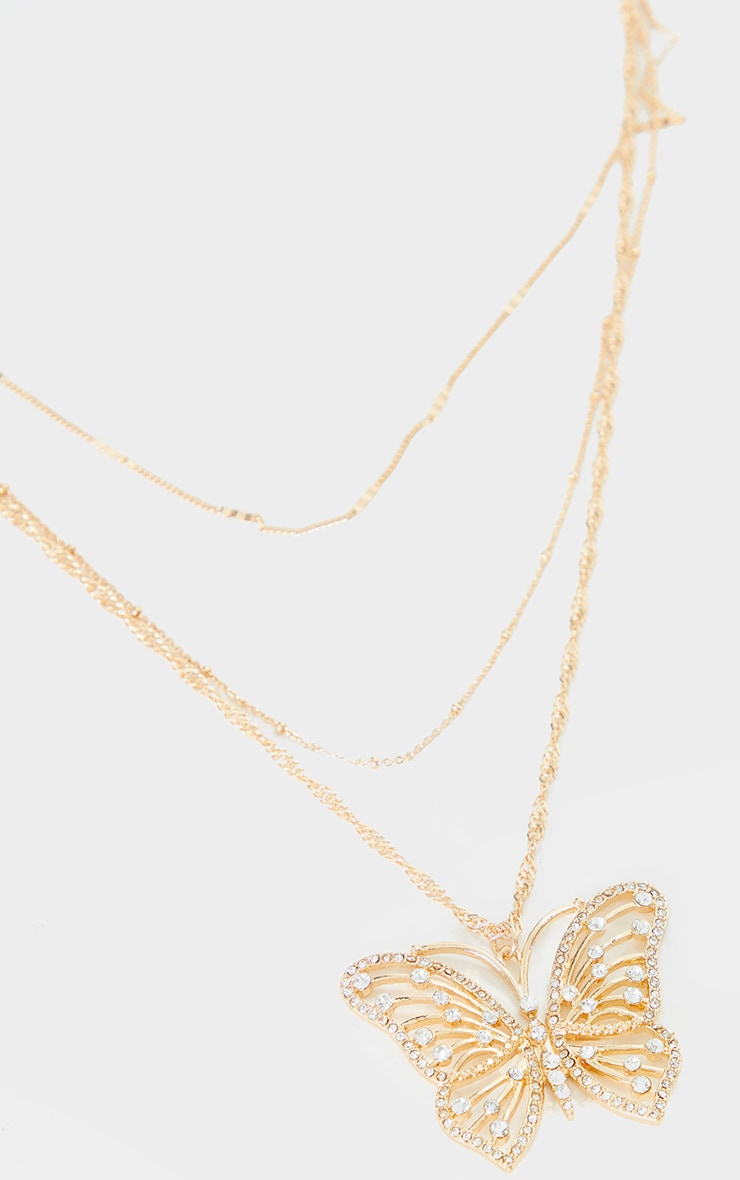 Gold Multi Chain Oversized Butterfly Necklace 3