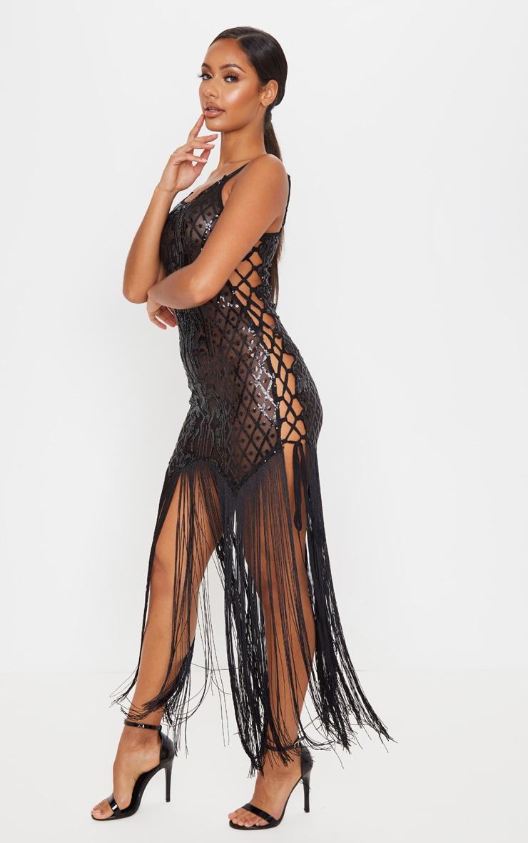 Black Sequin Lace Up Side Tassel Midi Dress 4