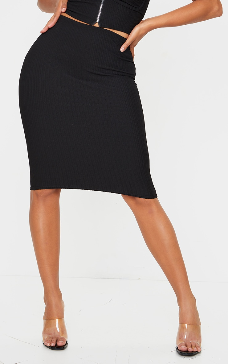 Shape Black Crinkle Rib High Waist Midi Skirt 2