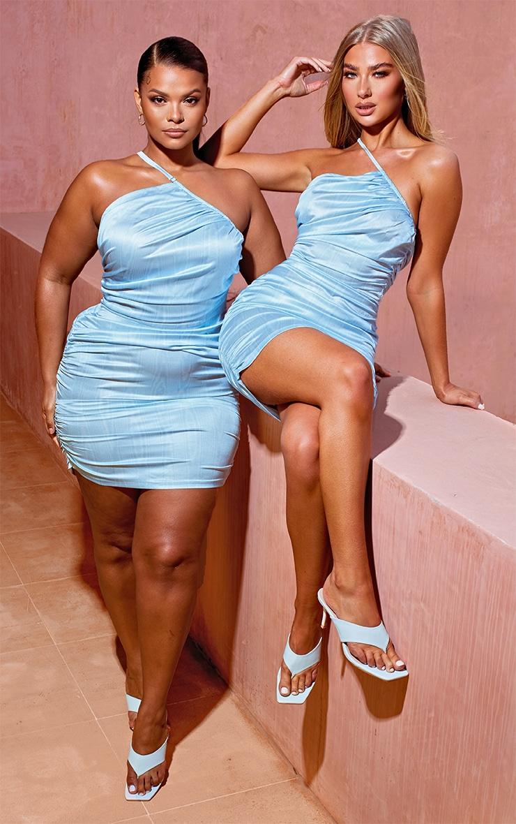 Light Blue Printed Satin Asymmetric Bodycon Dress 5