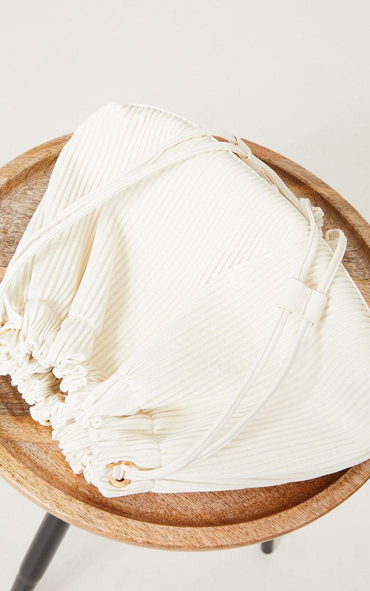 Cream Oversized Pleated Clutch Bag 2