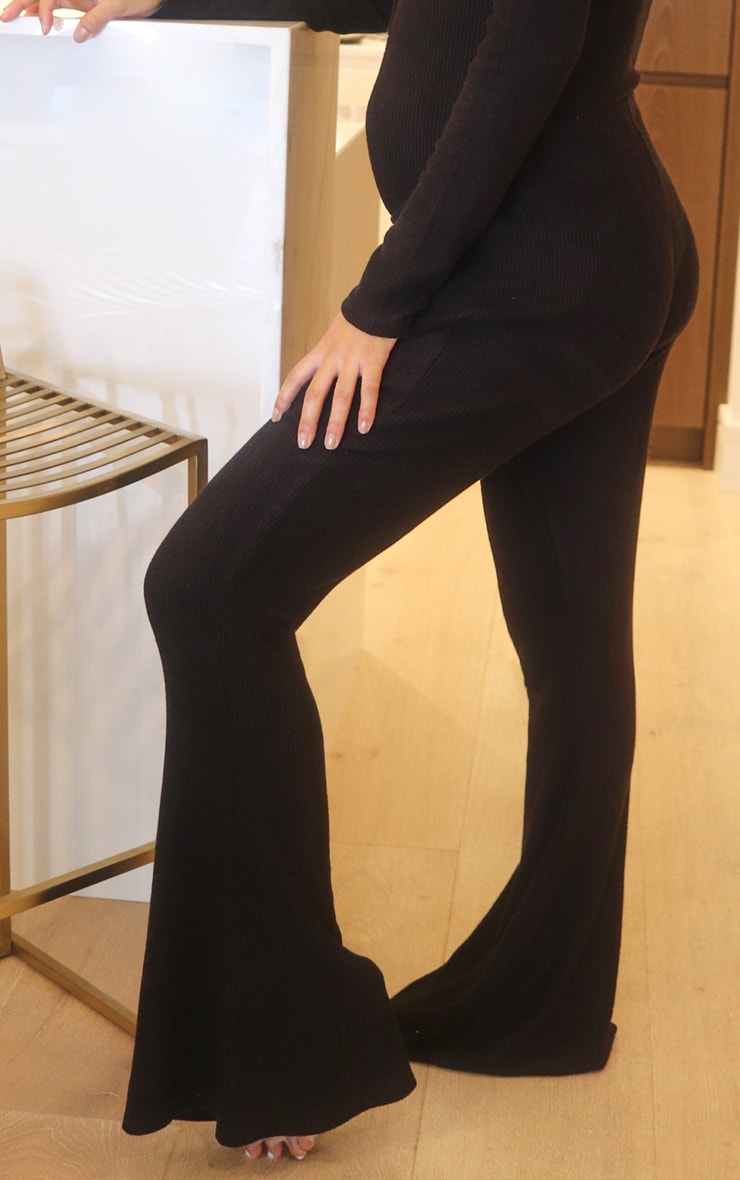 Maternity Black Brushed Rib High Waisted Flared Trousers 2
