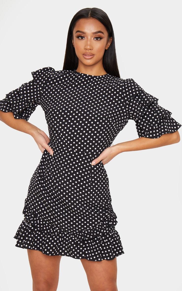 Petite Black Polka Dot Open Back Frill Sleeve Mini Dress 1