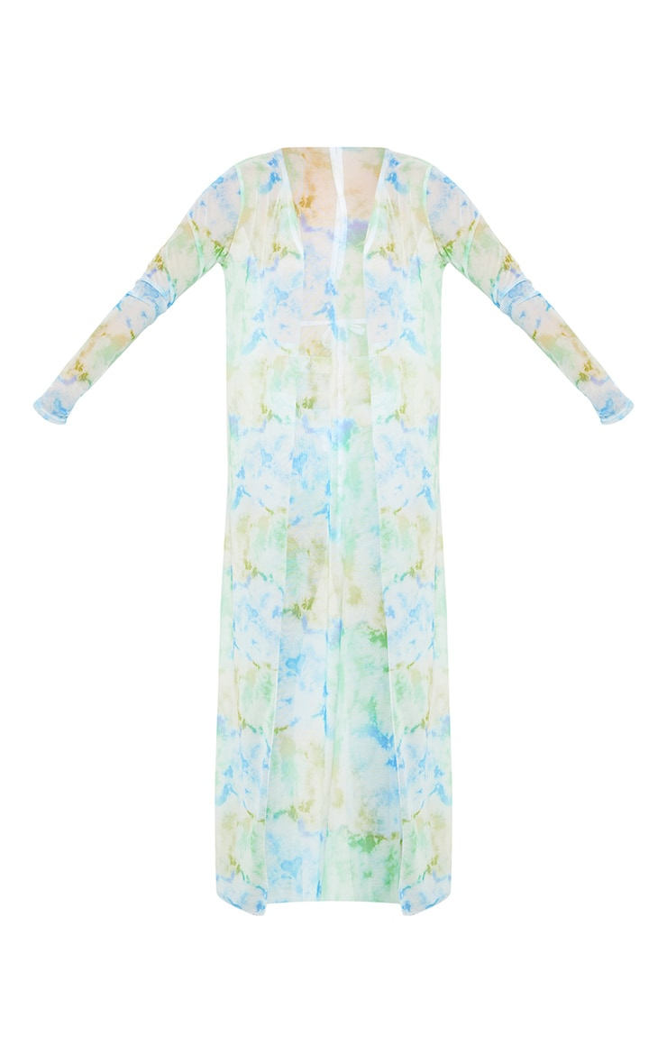 Baby Blue Sheer Tie Dye Duster Jacket 4