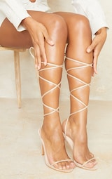 Nude Wide Fit Faux Suede Round Toe Barely There Strappy Heeled Sandals 2