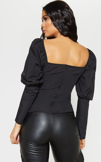 Black Lace Up Cup Detail Puff Long Sleeve Top