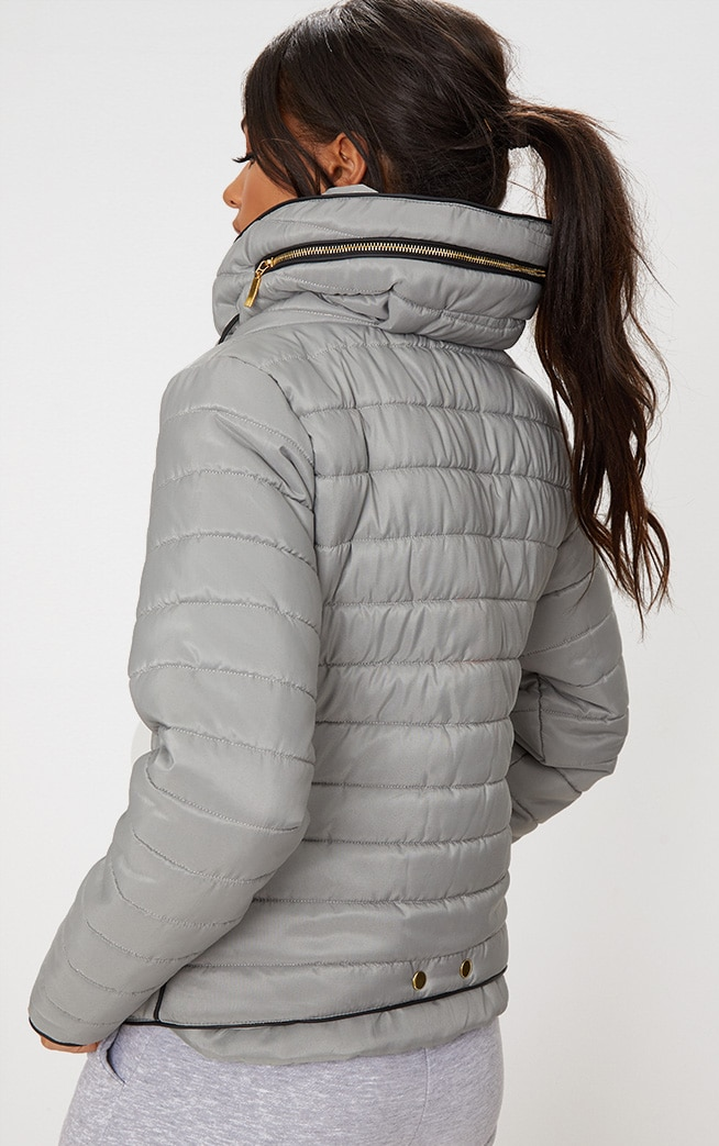 Mara Grey Puffer Jacket 2