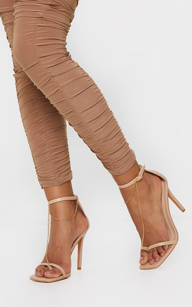 Nude Square Front Chain Detail High Heels 2