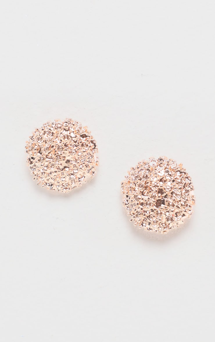 Rose Gold Textured Circle Stud 3