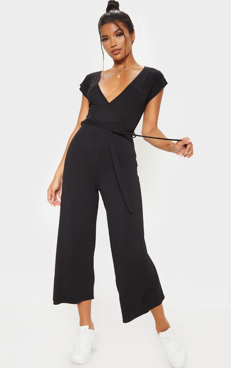Black Wrap Culotte Jumpsuit 1