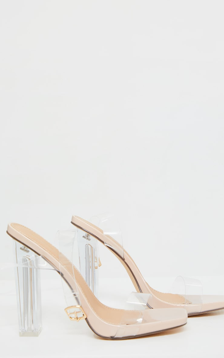 Nude Wide Fit Clear High Block Heel Strappy Heel Sandals 3