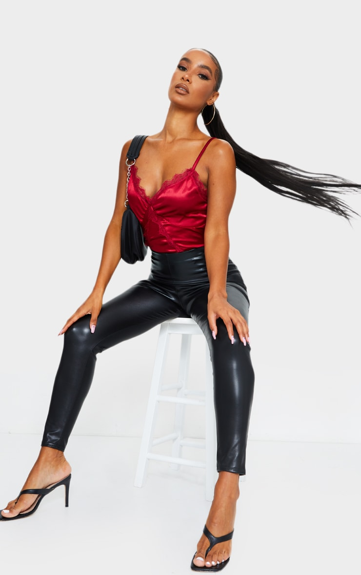 Scarlet Satin Lace Trim Detail Bodysuit 3