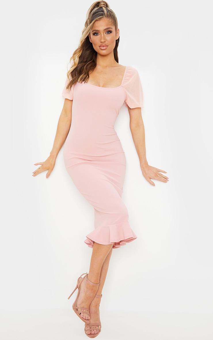 Dusty Pink Mesh Puff Sleeve Frill Hem Midi Dress 3