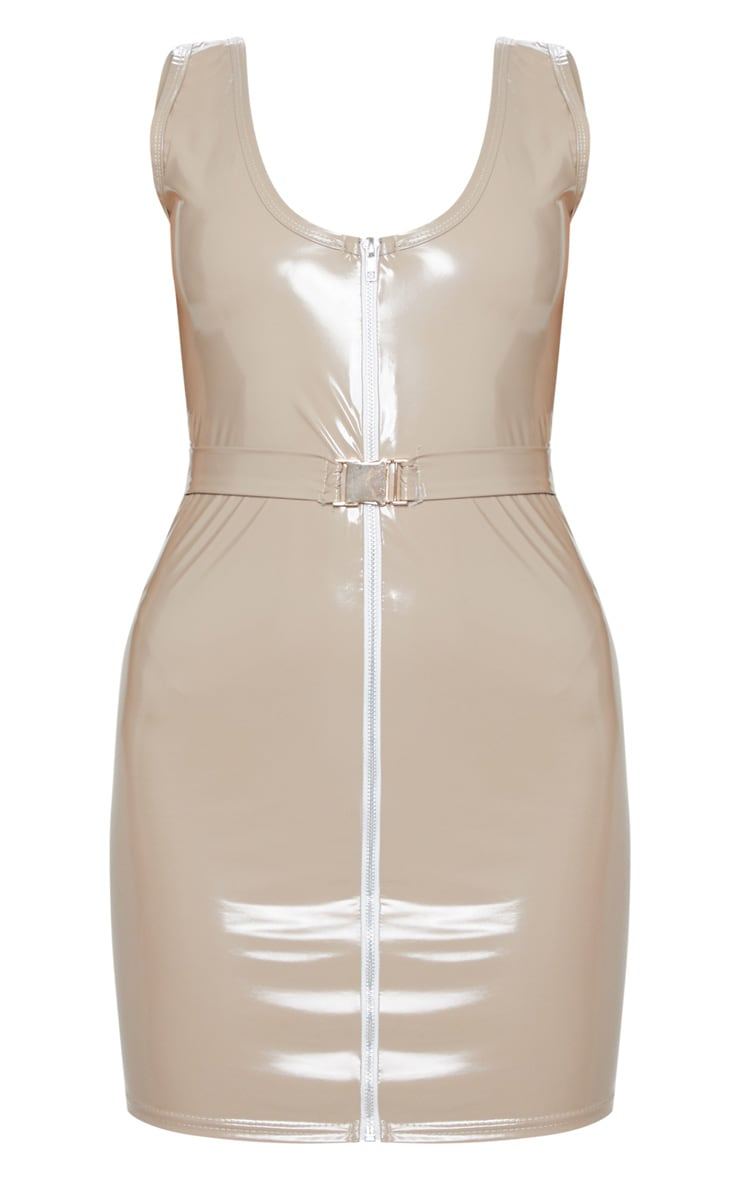 Stone Vinyl Belted Zip Bodycon Dress 3