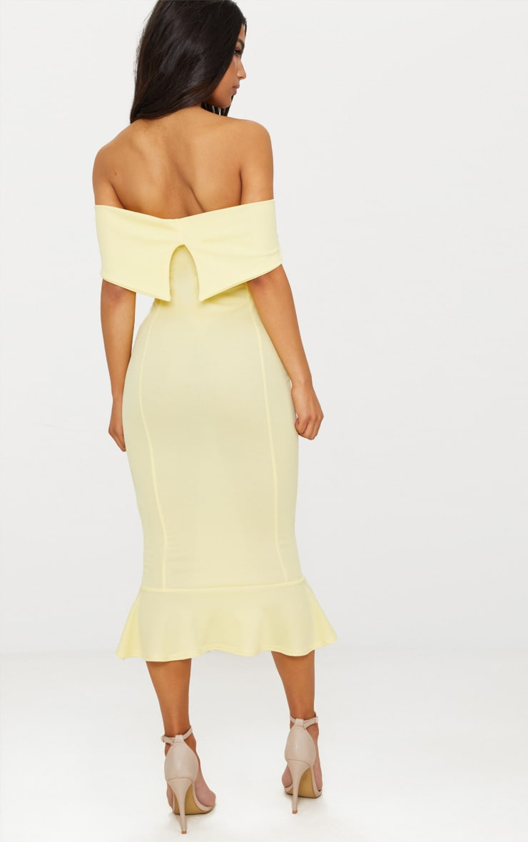 Lemon Bardot Frill Hem Midi Dress 2
