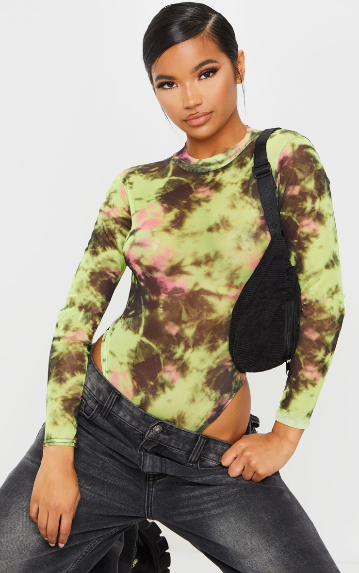 Multi Long Sleeve High Neck Mesh Tie Dye Bodysuit 1