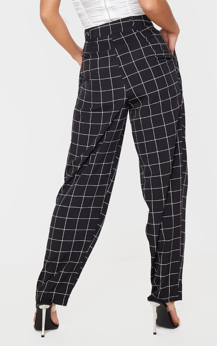 Petite Black Checked Woven High Waisted Balloon Leg Pants 4