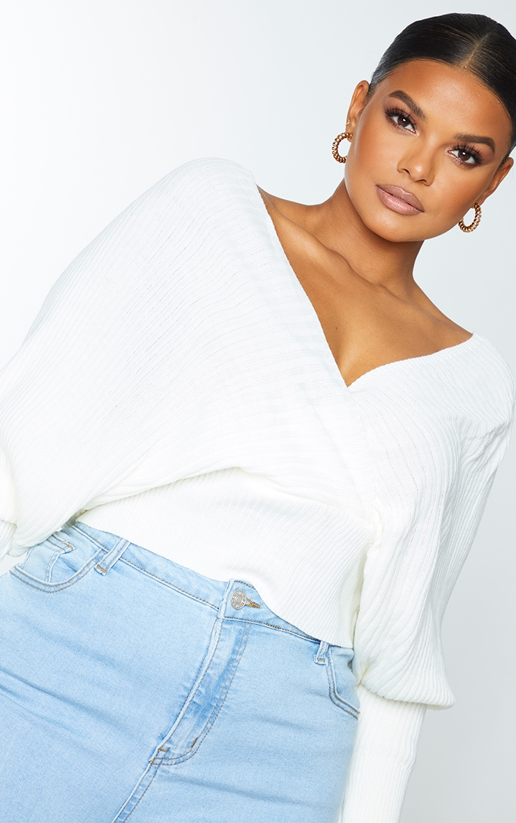 Plus Ivory Wrap Off The Shoulder Sweater 3