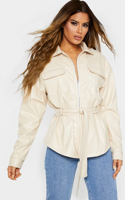 Tall Cream Faux Leather Belt Detail Jacket
