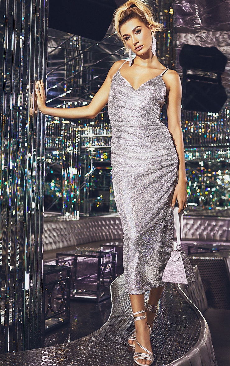 Silver Sequin Wrap Over Midaxi Dress 1