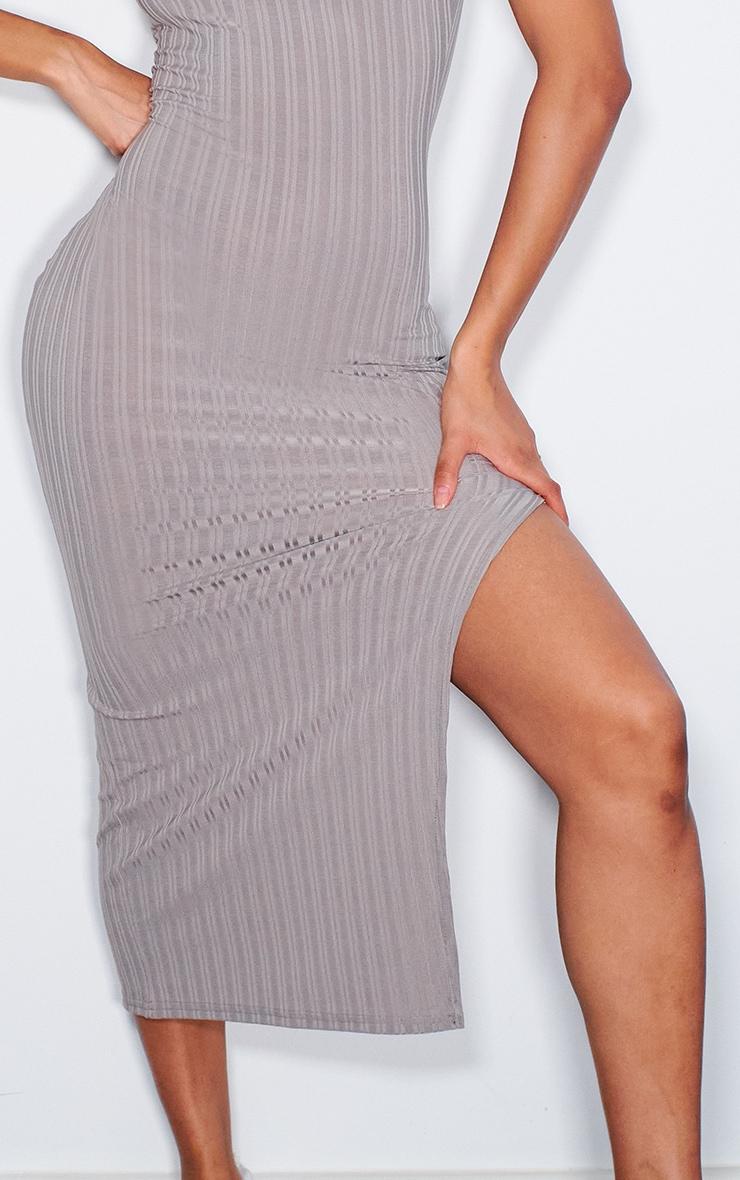 Grey Recycled Rib Split High Neck Midi Dress 4