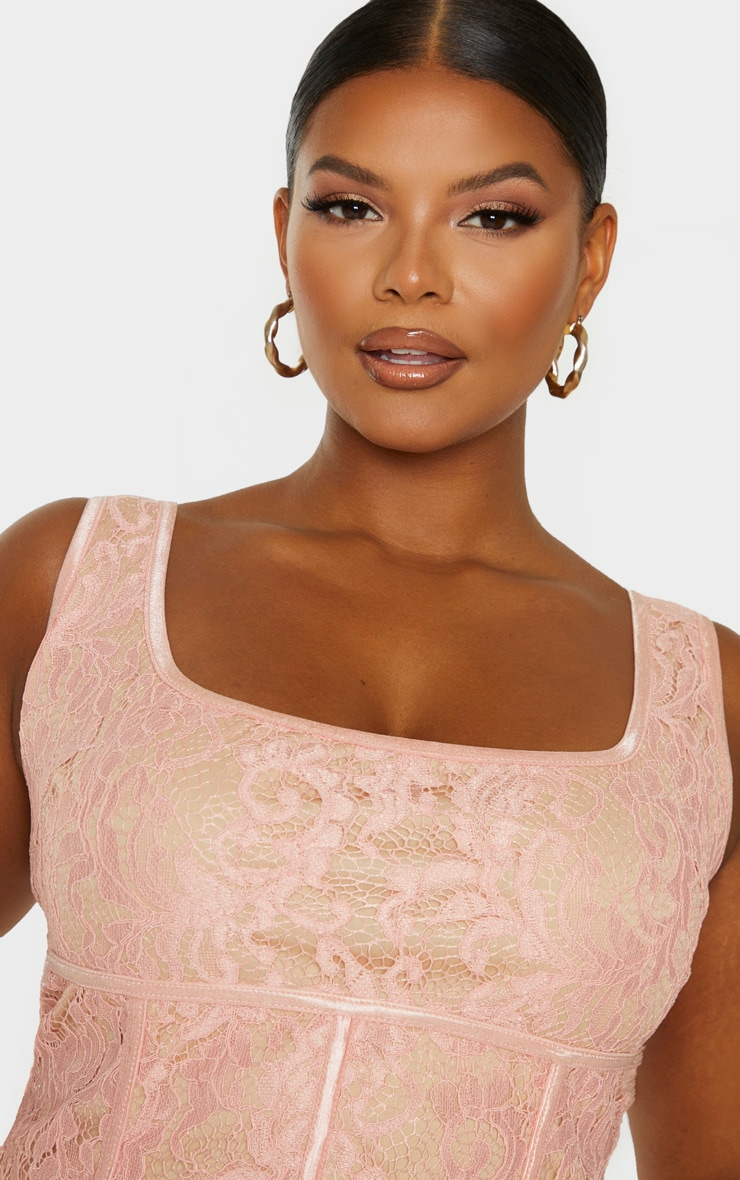 Plus Blush Lace Corset Crop Top 5