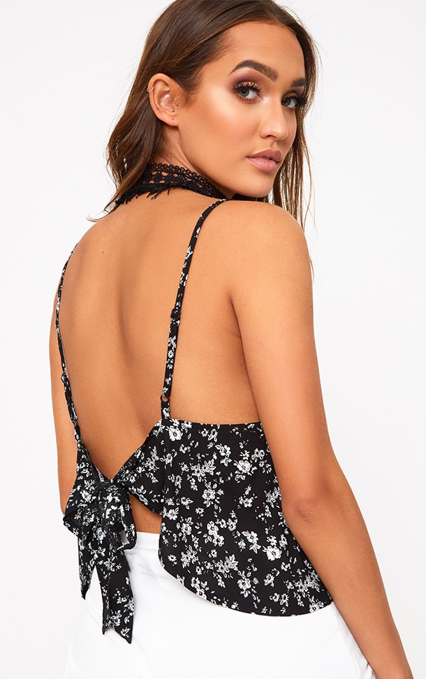 Black Ditsy Floral Print Tie Back Crop Top  1