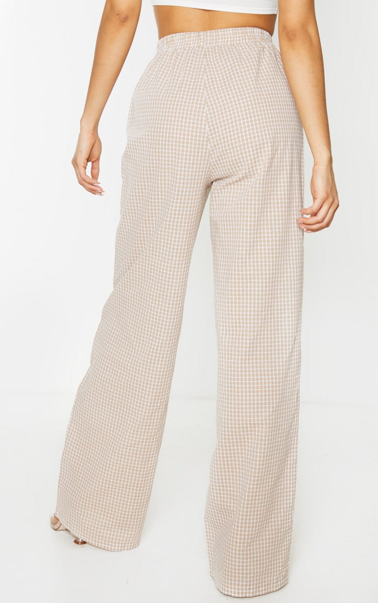 Tall Stone Checked Straight Leg Elasticated Pants 4