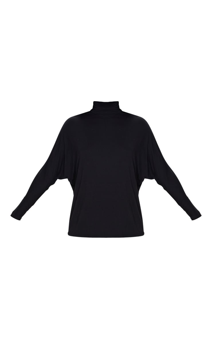 Black Jersey High Neck Long Top 3