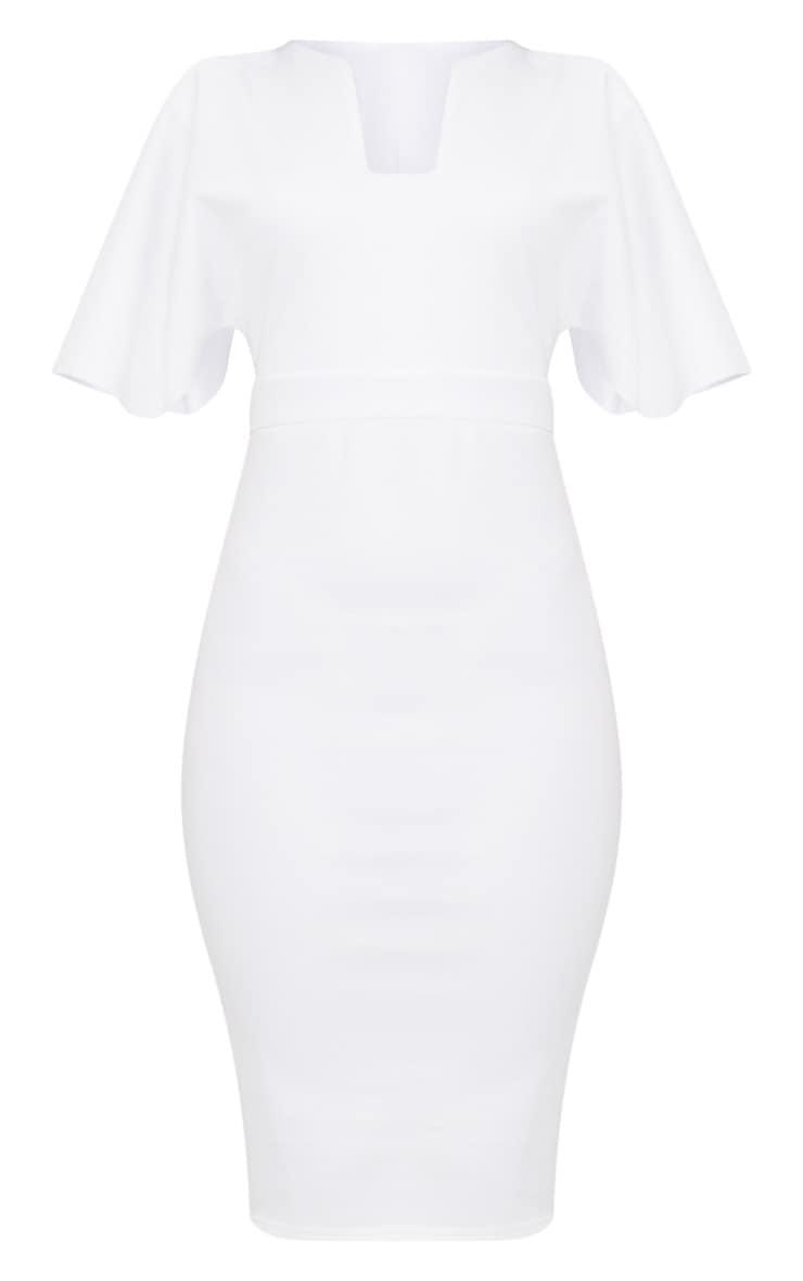 White Plunge Sleeve Midi Dress 3
