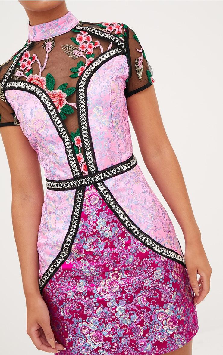 Premium Pink Jacquard Embroidered Bodycon Dress 5