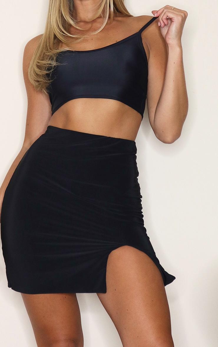 Black Slinky Slit Hem Mini Skirt 5