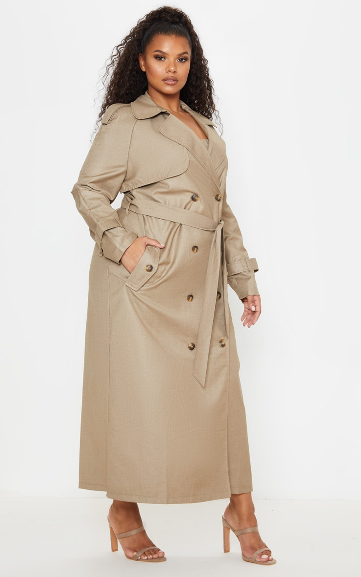 Plus Stone Woven Oversized Trench Coat 4