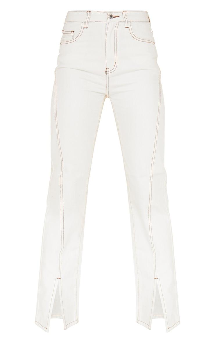 Off White Tobacco Stitch Seam Detail Split Front Jeans 5