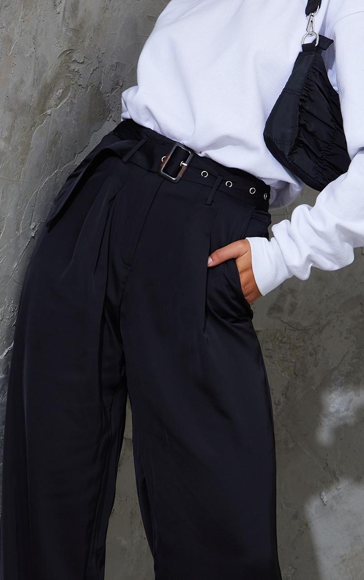 Black Belted Woven Wide Leg Pants 4