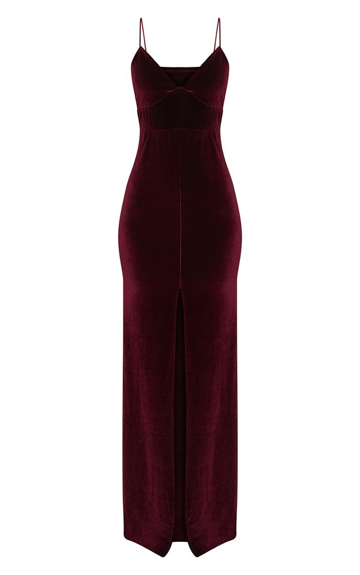 Burgundy Velvet Plunge Strappy Split Detail Maxi Dress 3
