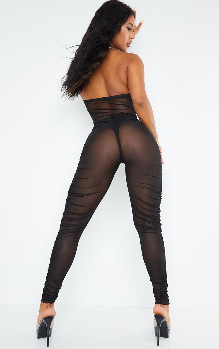 Black Plunge Lace Up Mesh Jumpsuit 2