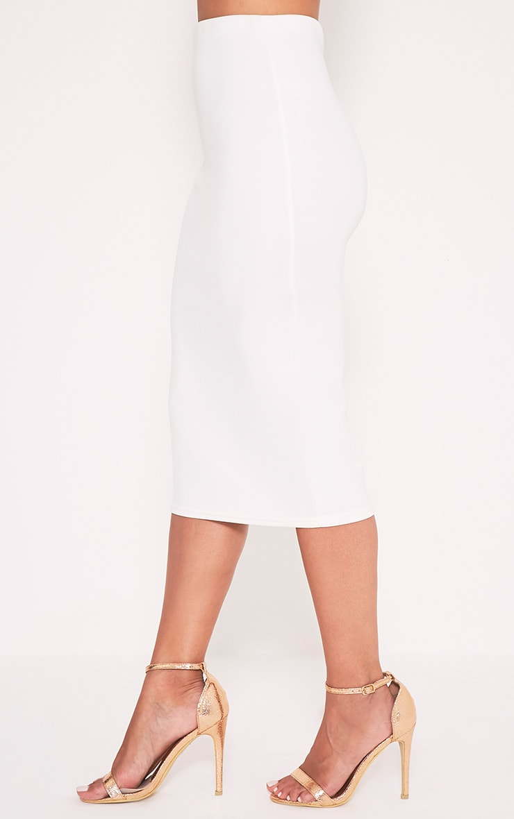 Fillipa Cream Scuba Midi Skirt 4