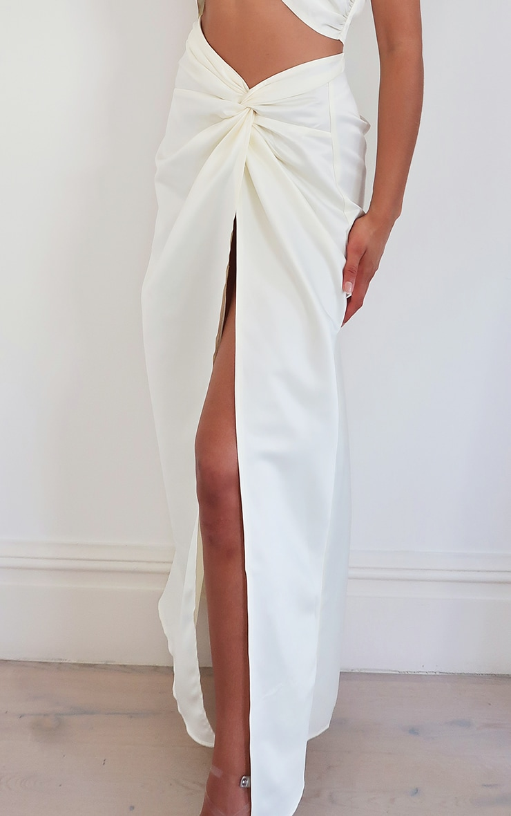 Cream Satin Woven Dip Hem Split Leg Maxi Skirt 3