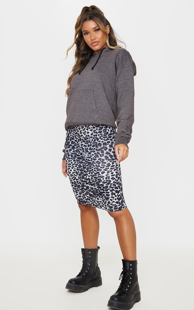 Grey Leopard Print Ruched Side Midi Skirt
