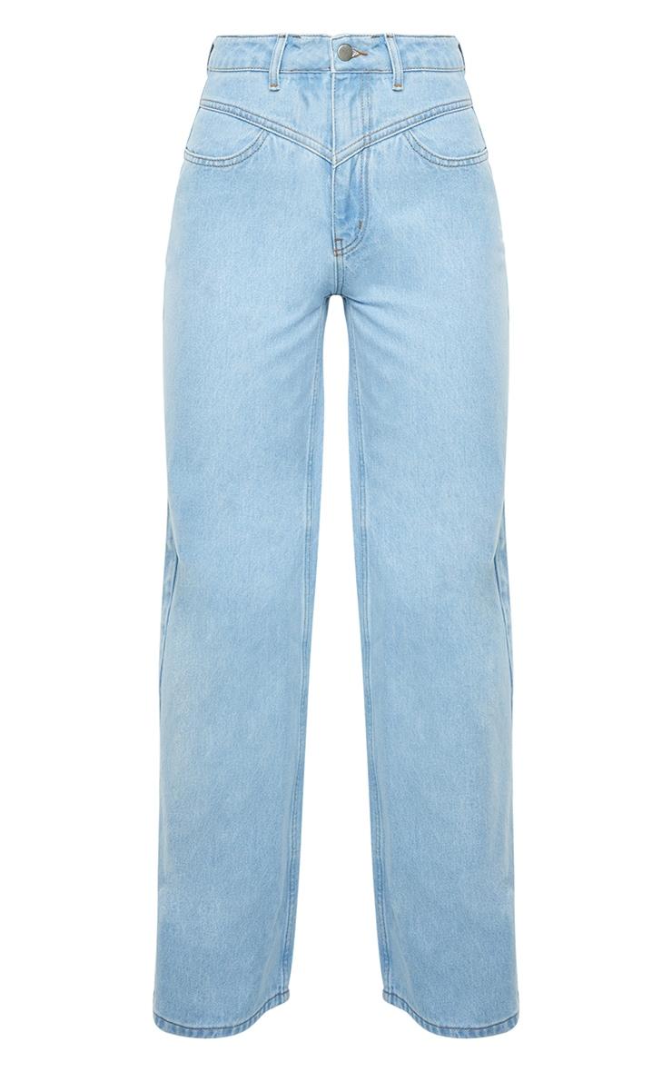 Light Blue Wash Seam Detail Wide Leg Jeans 5