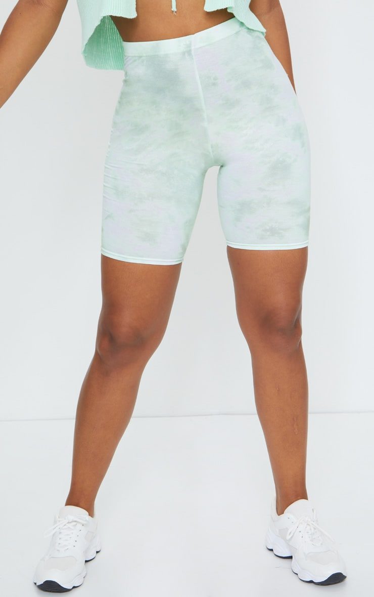 Sage Green Tie Dye Bike Shorts 2