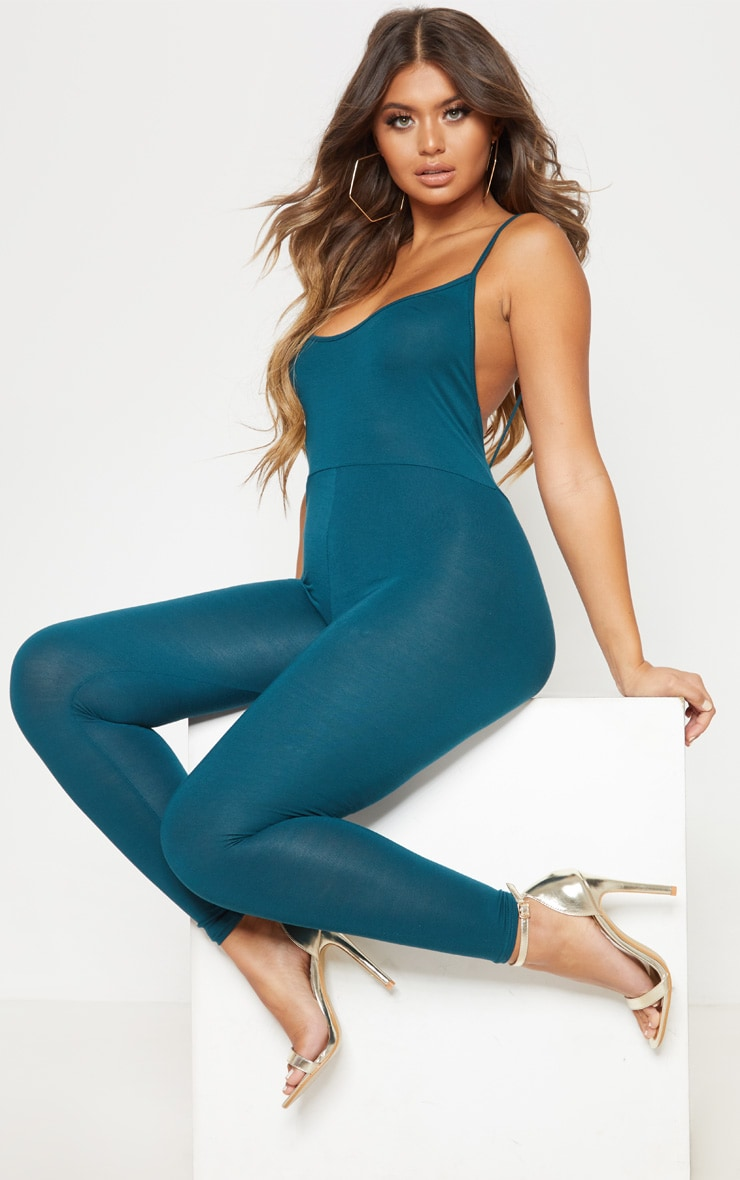 Teal Jersey Low Back Jumpsuit 2