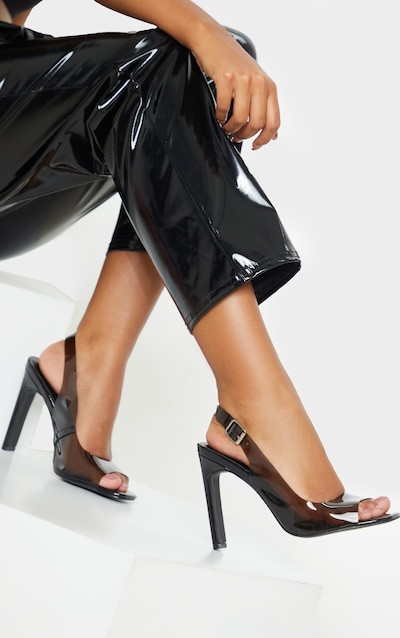 Black Wide Fit Square Toe Flat Heel Slingback Sandal