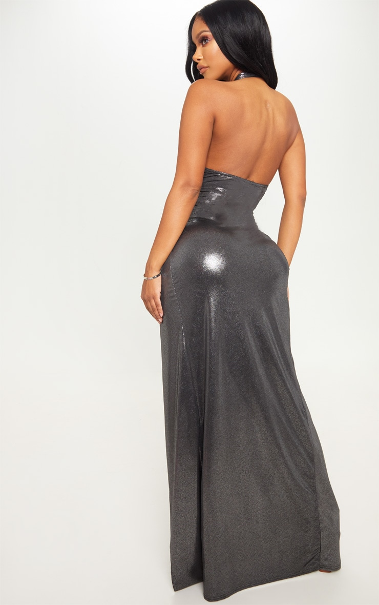 Shape Silver Metallic Wrap Over Plunge Maxi Dress 2