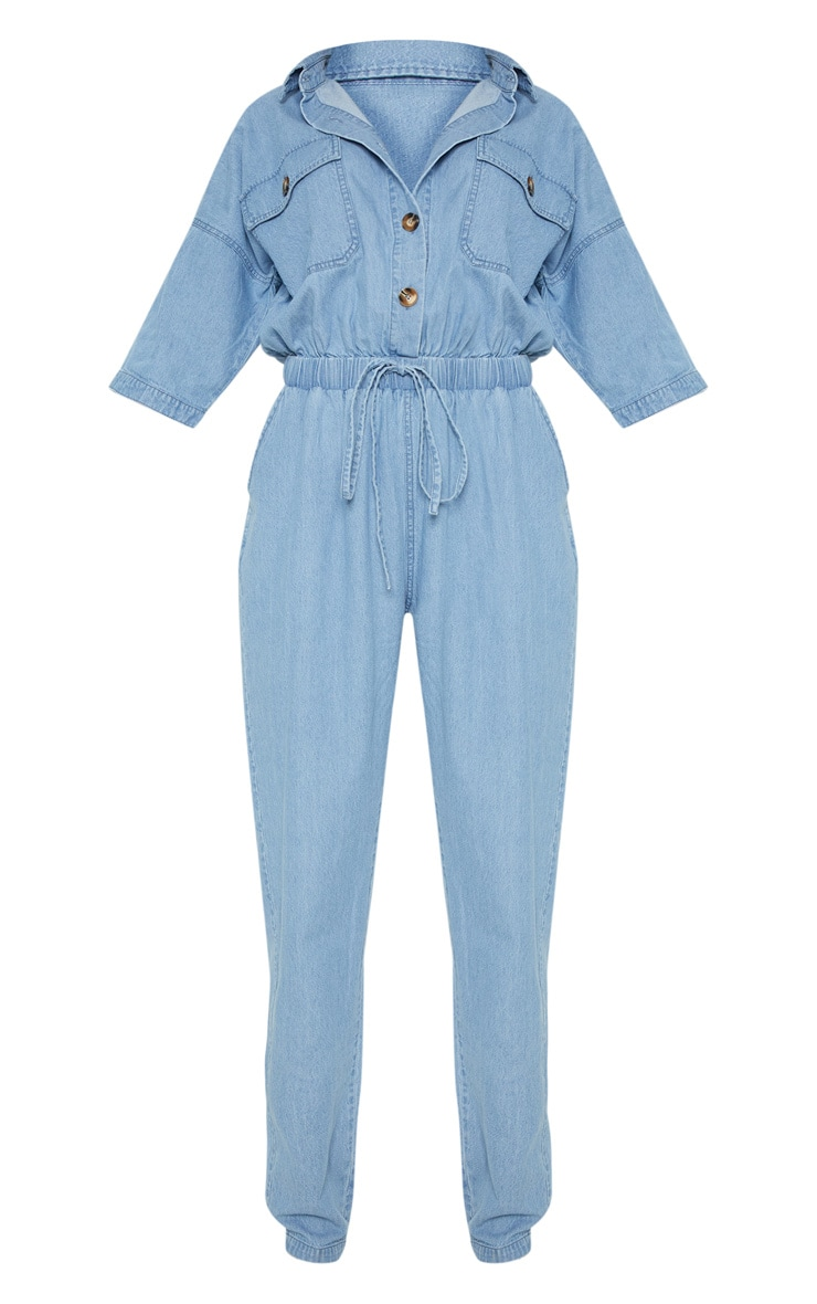 Light Wash Tortoise Button Chambray Jumpsuit  3