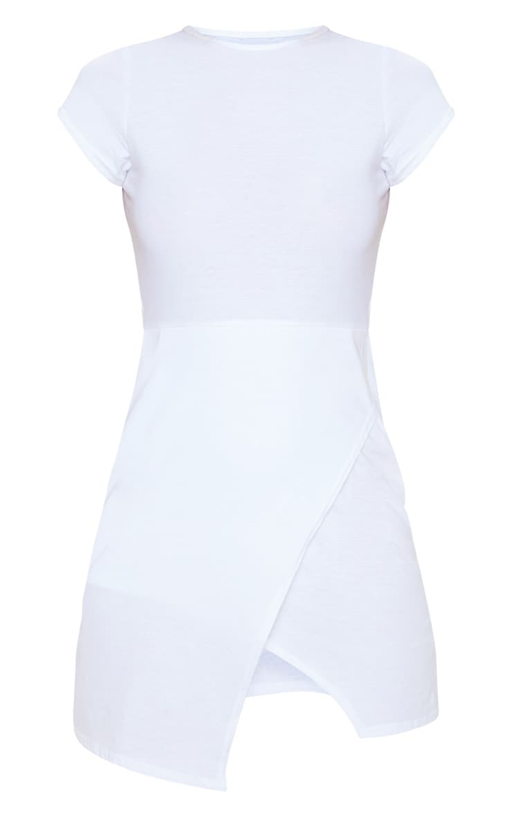 White Wrap Hem T Shirt Dress 3
