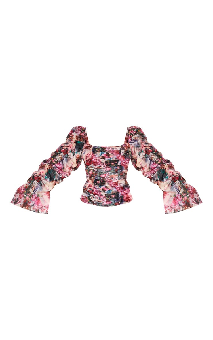 Rose Femme Renaissance Print Ruched Oversized Long Sleeve Top 3